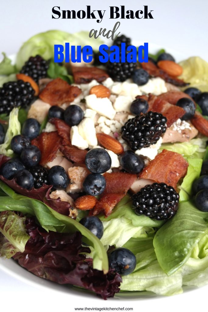 Smoky Black and Blue Salad combines luscious berries, grilled chicken, smoked almonds, and smoky bacon to get salad perfection!