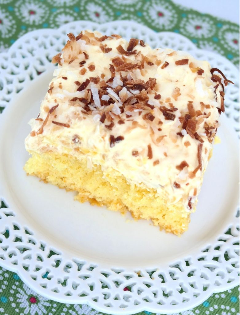 Lemon, orange, pineapple, and coconut all mingled together in a luscious, moist and easy cake. Be careful because one piece just isn't enough!