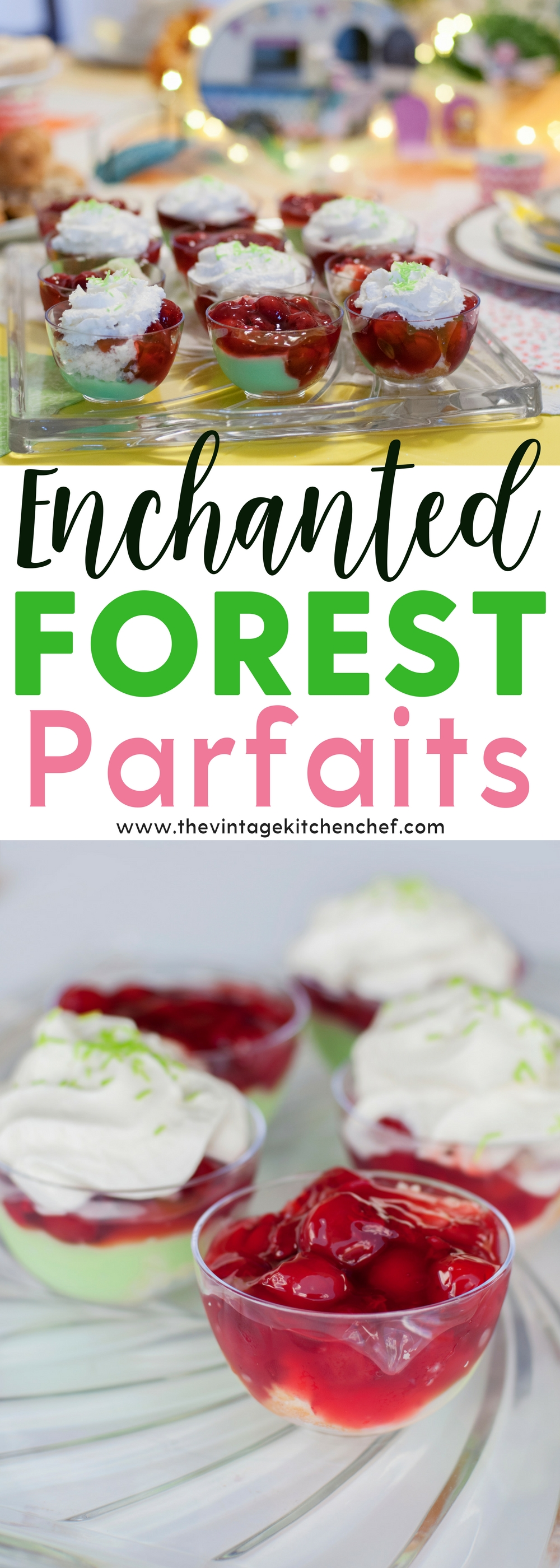 Tiny Enchanted Forest Parfaits are not only fanciful and delicious but are so easy, too! Great for a tea party or any event where you need a mini dessert.