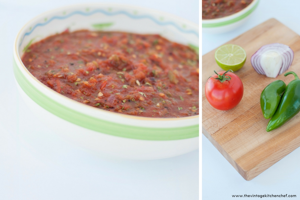 Fresh, flavorful and simple ingredients are roasted and blended together to make the absolute best salsa ever! Hot or mild, it's delicious either way!