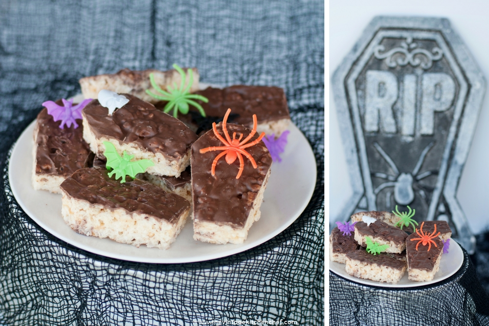 Halloween can make even the friendliest of foods creepy! Such is the case with these chocolatey, creepy and easy Spooky Rice Krispie Treat Coffins!