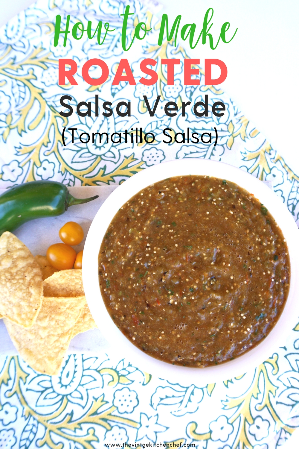 Roasted Salsa Verde is a treat for your tastebuds! It's a little chunky and tangy with just the right amount of spiciness. Enjoy it on tacos or with chips!