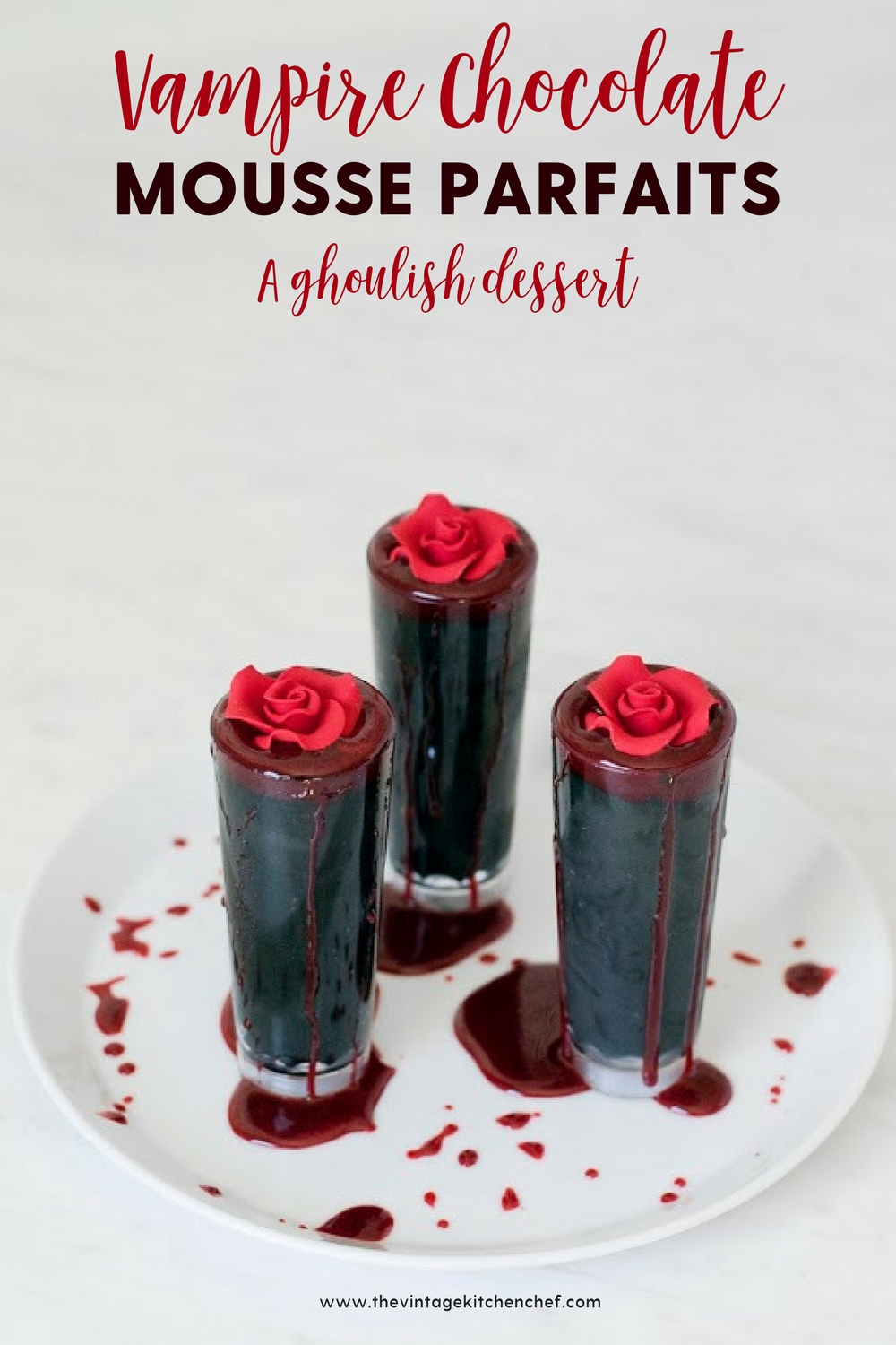 A creepy, decadent and insanely delicious mini dessert! Rich and creamy chocolate mousse with a splash of edible blood on the top...what's not to love?