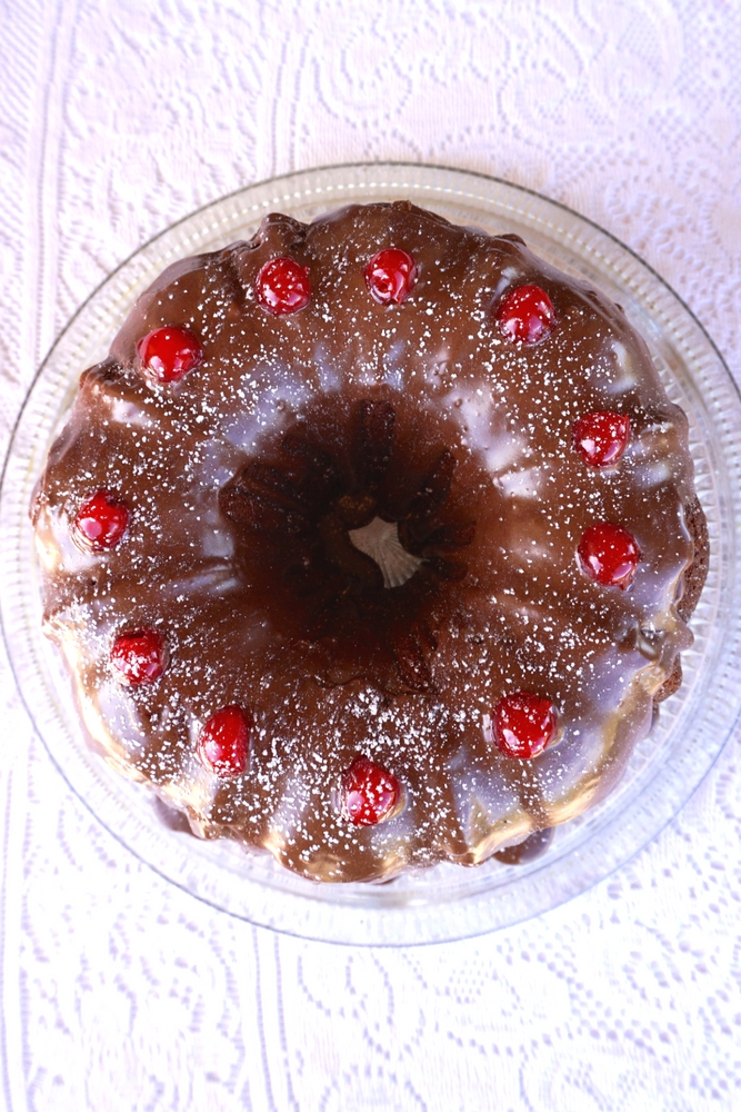 Chocolate Covered Cherry Bundt Cake is easy to make and looks and tastes delightful! It's a large, rich and moist cake that's great for any occasion