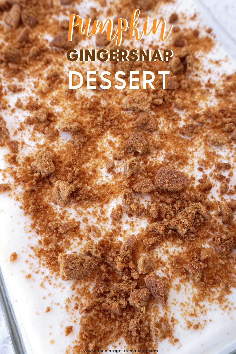Gingersnap crust makes all the difference with this no-bake dessert. Layers of pumpkin spice cheesecake, pudding and whipped topping on a gingersnap crust.