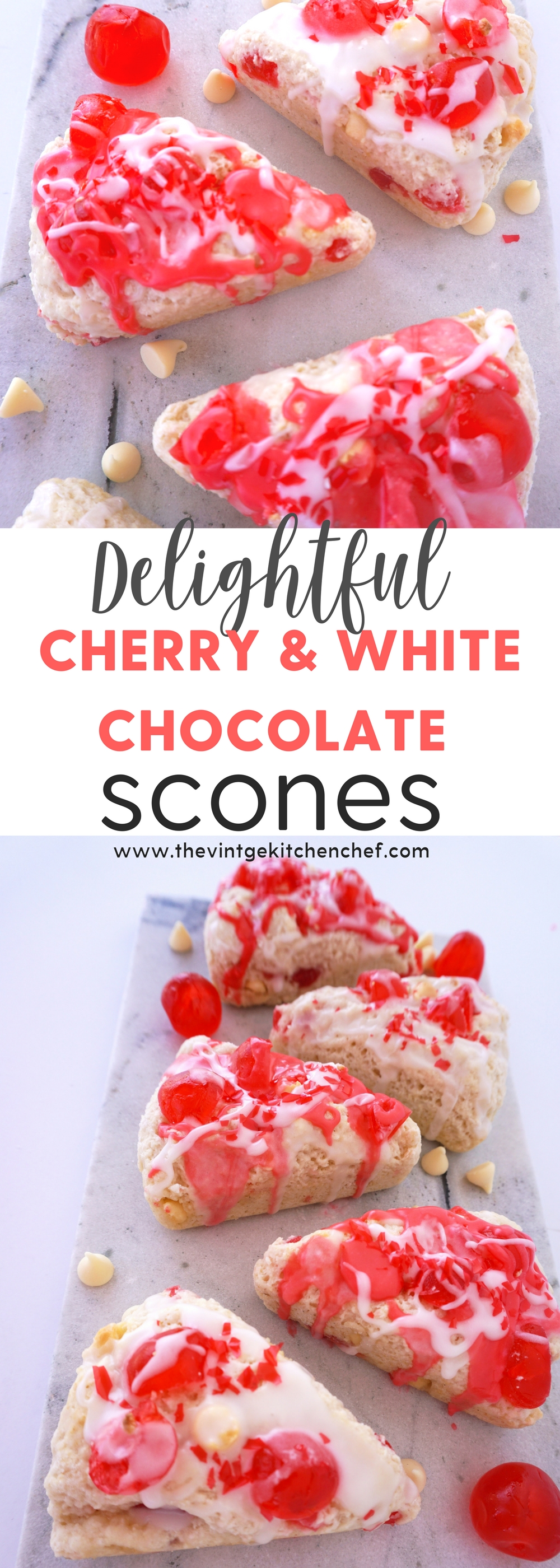 Lovely to look at and even better to eat! These yummy scones have the perfect mix of cherry and white chocolate. Perfect for breakfast, tea time or dessert!