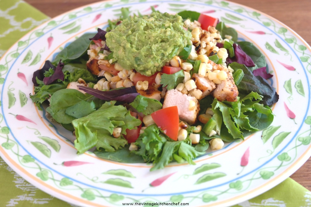 This fresh, easy and flavorful salad has a spicy southwestern flare. Grilled corn, pico de gallo and guacamole make this a healthy meal for lunch or dinner!